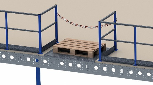 Pallet lay-out with chain